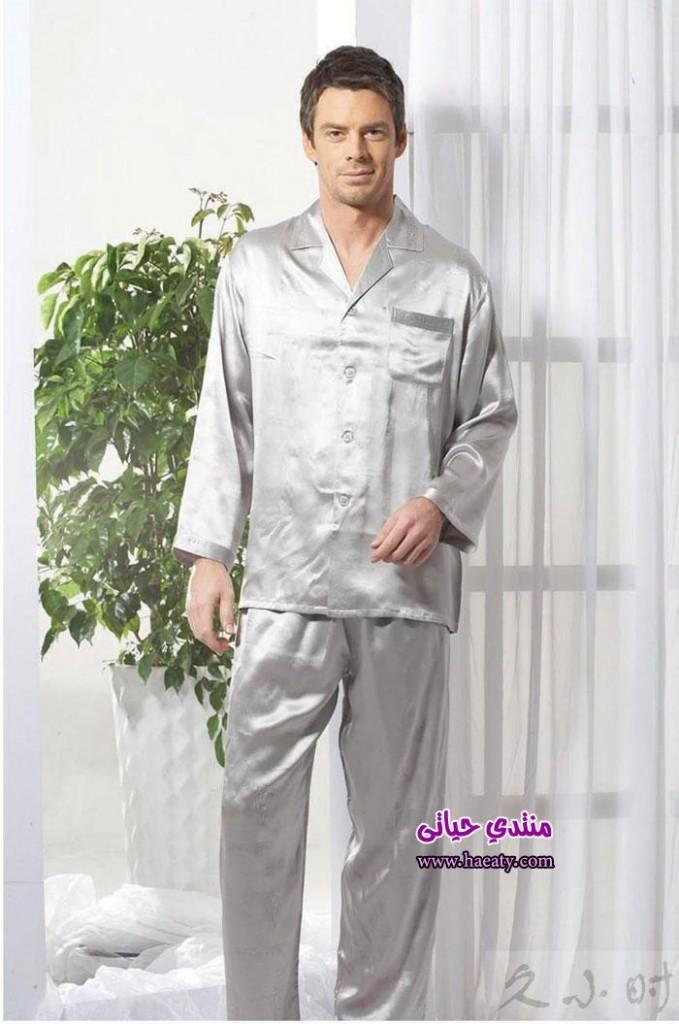 Evatent-Silk-Top-Pyjamas-Men-s-Sleepwear-Set-Short-Sleeve-Top-Long-Pant-Set-Silver-XL